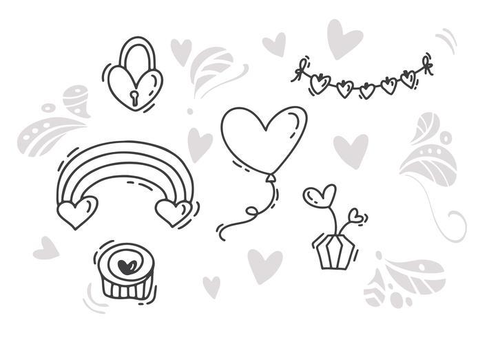 Vektor Monoline Alla hjärtans dag Hand Dragna element. Glad alla hjärtans dag. Holiday sketch doodle Designkort med hjärta. Isolerad illustration dekor för webben, bröllop och tryck