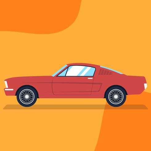 Retro Red Car Vintage Flat Style Illustration