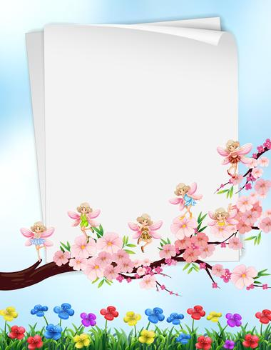 Paper design with flowers and fairies