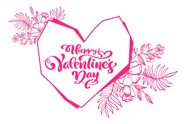 Calligraphy phrase Happy Valentines Day with Heart. Vector Hand Drawn lettering. Holiday flourish sketch doodle Design valentine card. love decor for web, wedding and print. Isolated illustration