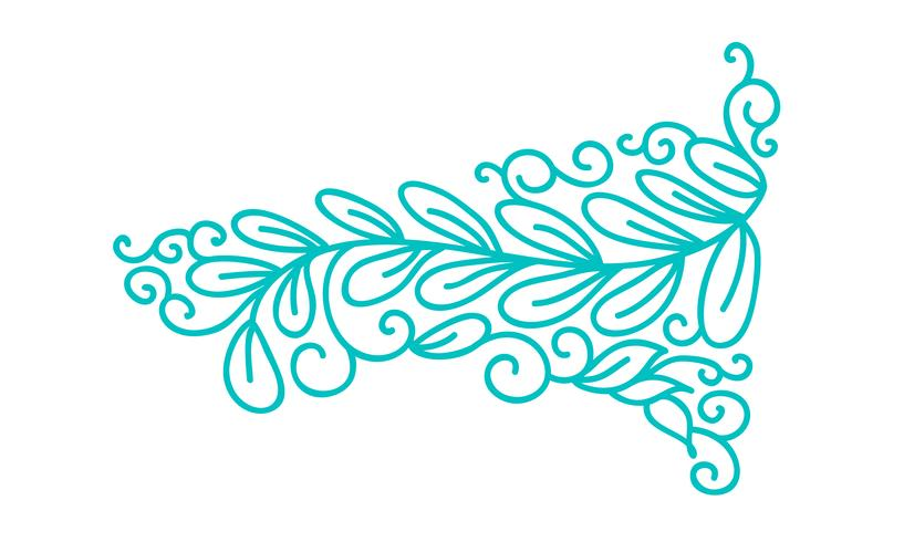 Turquoise monoline scandinavian folk flourish with leaves and flowers