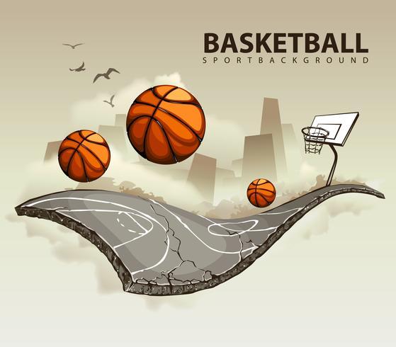 Ilustración vectorial de la cancha de baloncesto surrealista vector