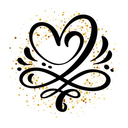 Heart love sign Vector illustration. Romantic symbol linked, join, passion and wedding. Design flat element of valentine day. Template for t-shirt, card, poster