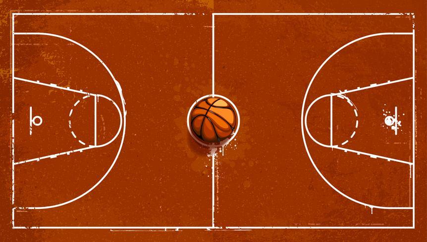 Campo de baloncesto de grunge vector