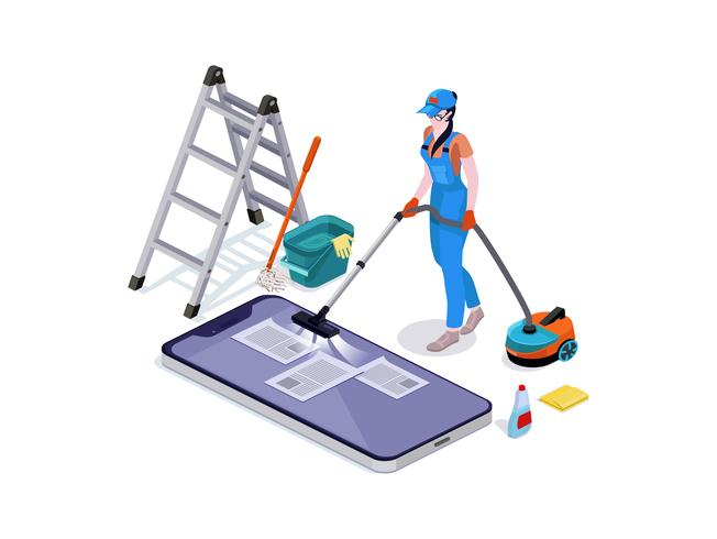 Woman dressed in uniform delete files off from mobiles. cleaning and vacuums, the phone. vector