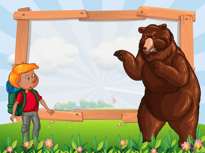 Kadersjabloon met wandelaar en beer