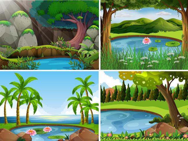 Vier Hintergrundszenen des Waldes