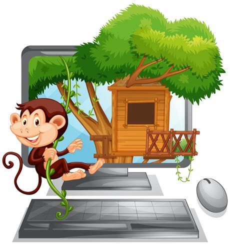 Macaco subindo a casa da árvore na tela do computador