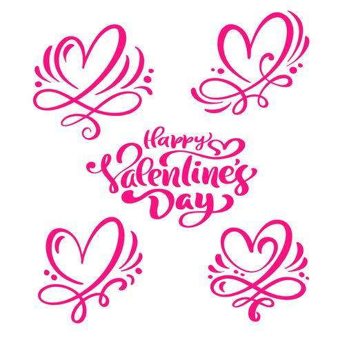 """Set med röd kalligrafi text """"Glad hjärtans dag"""" och hjärtan"""