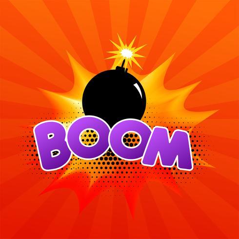 """fumetto comico con bomba in fiamme e testo """"boom"""""""