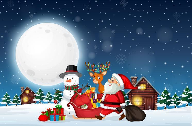 Santa leverans gåva på natten vektor