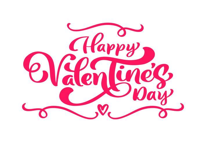 Frase di calligrafia Buon San Valentino con fiorire e fiori. Iscrizione disegnata a mano di giorno di San Valentino di vettore. Fondo di carta di San Valentino di disegno di doodle di schizzo di festa del cuore. amo l'arredamento per il web, il matrim