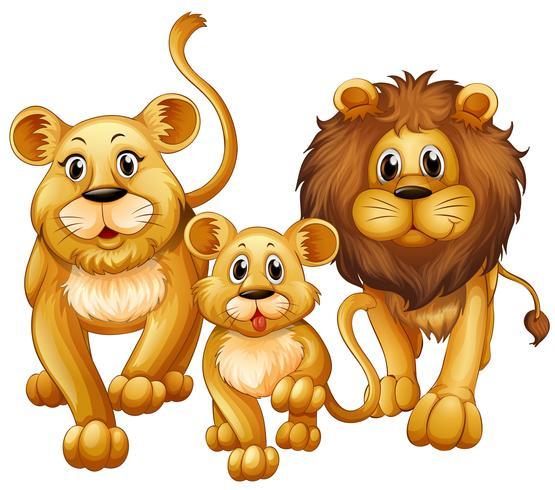 Leão na família com filhote fofo