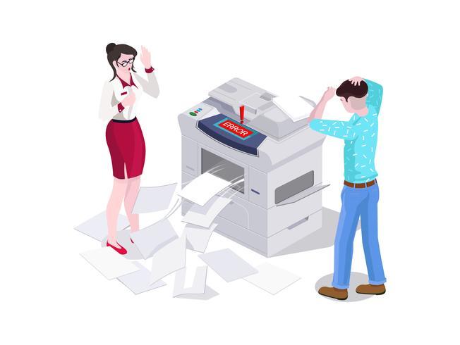 O homem 3d isométrico e uma mulher no escritório imprimem e fazem uma fotocopiadora na impressora.