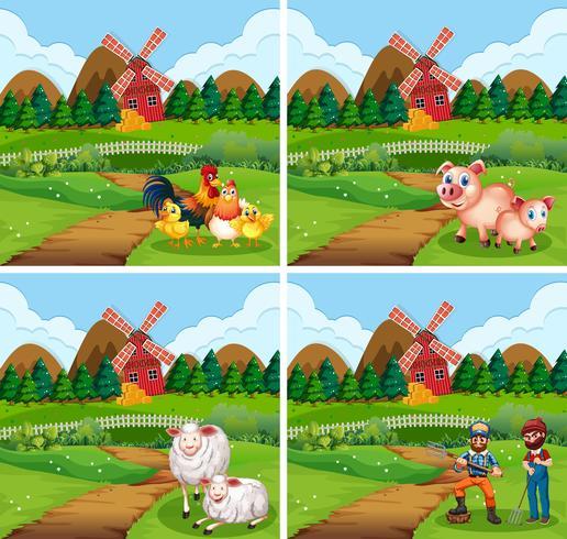 Set di terreni agricoli con animali e contadini