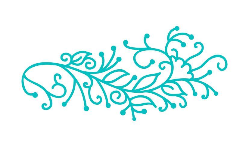 Turquesa monoline folclórica escandinava florescer com folhas e flores