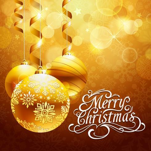 Fundo de Natal com bolas de ouro