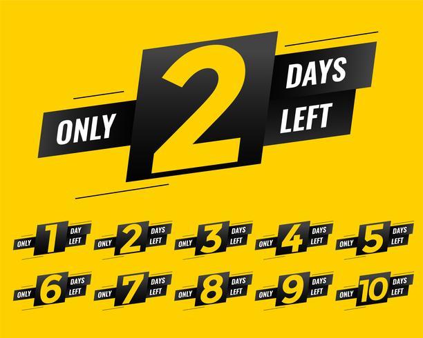Número promocional de banner de signo de días restantes
