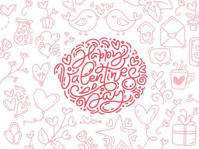 Vector de caligrafía monoline frase feliz día de San Valentín. Valentine Hand Drawn letras y elementos. Bosquejo de vacaciones doodle tarjeta de diseño con marco de corazón. Ilustración aislada de decoración para web, boda e impresión.