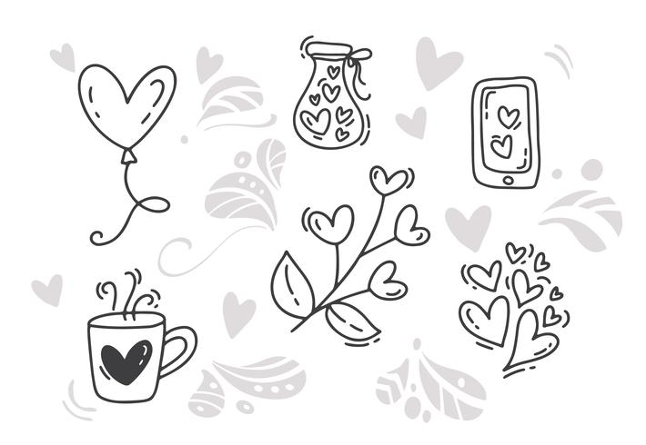 Elementi disegnati a mano di San Valentino di vettore monoline. Buon San Valentino. Schizzo di vacanza Doodle Design card con cuore. Arredamento illustrazione isolato per web, matrimonio e stampa