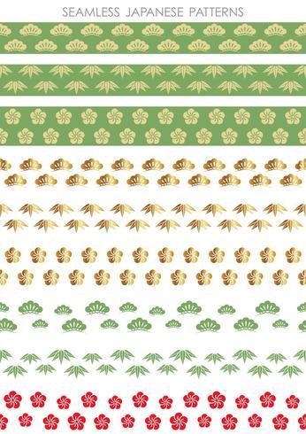 Ensemble de modèles traditionnels sans soudure japonais, illustration vectorielle.