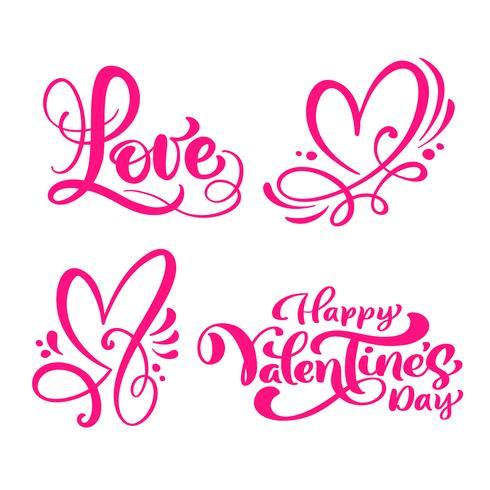 """Satz rote Kalligraphiewörter """"Liebe"""", """"glücklicher Valentinstag"""" u. Herzen"""