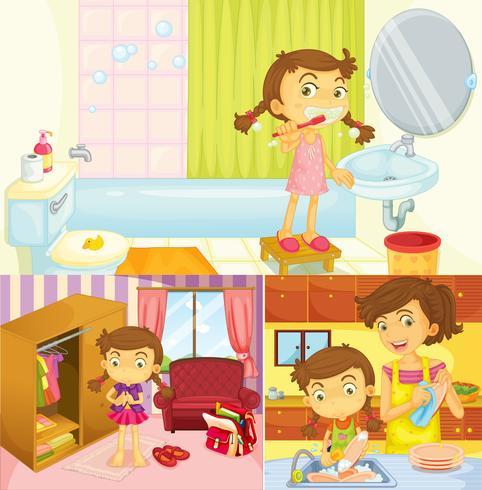 Chica haciendo diferentes actividades en casa.