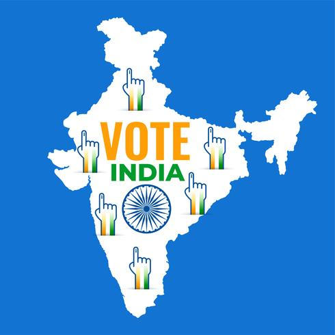 karta över Indien med rösthanddesign