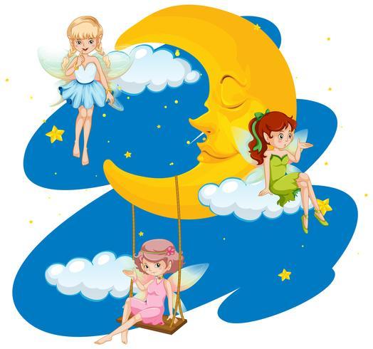 Drie feeën die in hemel bij nacht vliegen