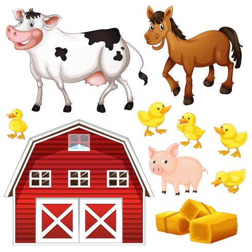 Farm animals and barn vector