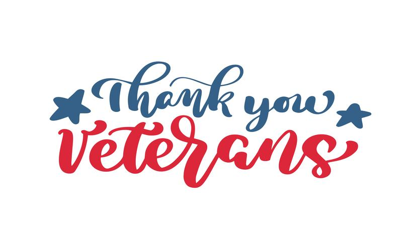 Thank you Veterans text. Calligraphy hand lettering vector card. National american holiday illustration. Festive poster or banner isolated on white background
