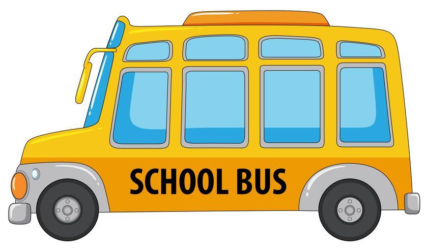 En skolbuss på vit bakgrund
