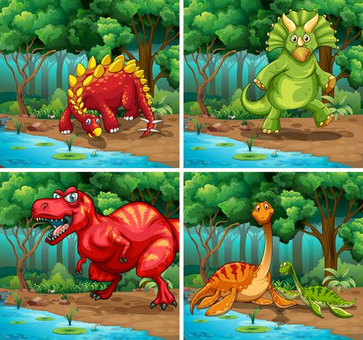 Cuatro escenas de dinosaurios en el parque.
