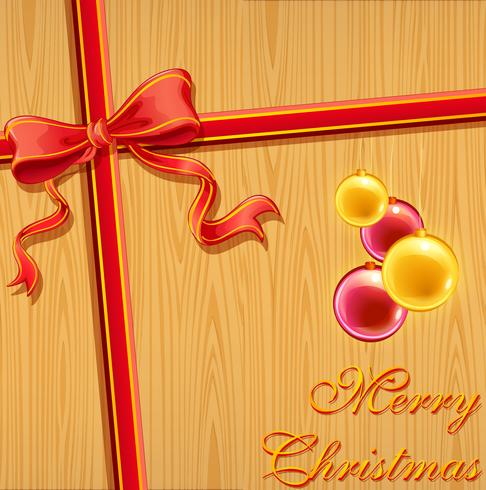 Christmas background with ribbon and ornaments