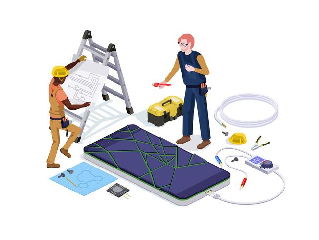 People in the form of mobile phone repair service workers do screen diagnostics and replacement 3d isometric vector illustration design
