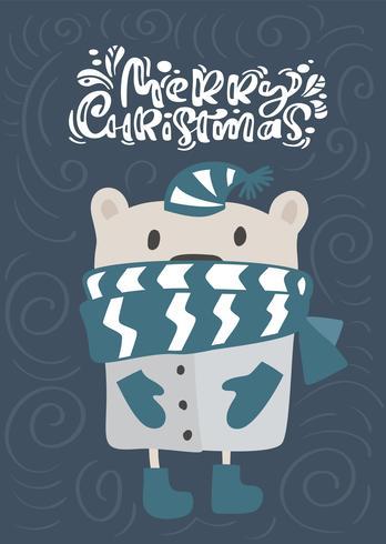 Kalligraphie-Beschriftungstext der frohen Weihnachten. Weihnachtsskandinavische Grußkarte. Übergeben Sie gezogene Vektorillustration eines netten lustigen Winterbären im Schal und im Hut. Isolierte Objekte