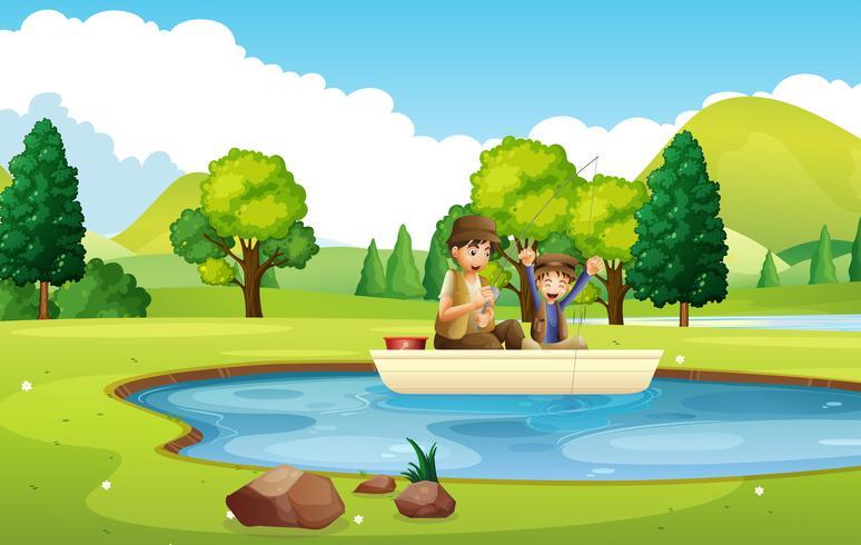 Padre e hijo pescando en el estanque