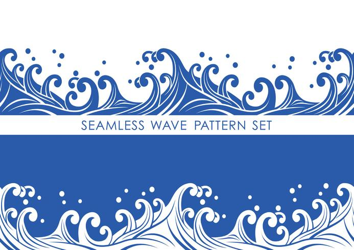 Set of Japanese traditional seamless wave patterns, vector illustration.
