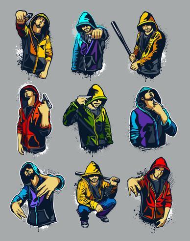 Vector conjunto de gangsters con capucha