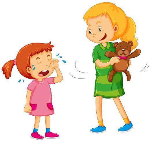 Großes Mädchen, das Bären vom kleinen Mädchen wegnimmt