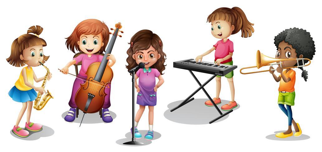 Veel kinderen spelen verschillende muziekinstrumenten