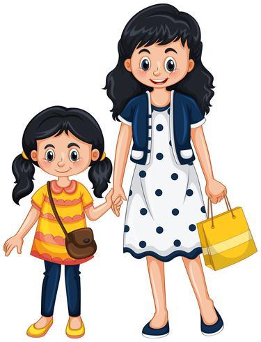 Tenersi per mano della ragazza e della madre