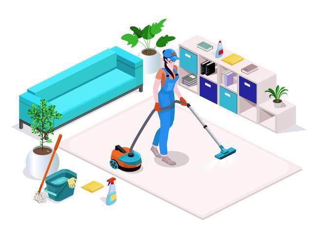La donna vestita in uniforme pulisce e aspira, lava il pavimento in casa e pulisce.