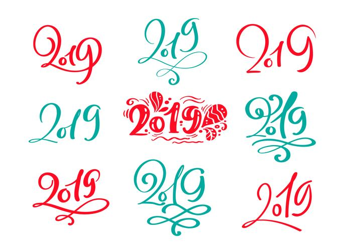Set of vector scandinavian Calligraphic Lettering Christmas text 2019 design card template. Creative typography for Holiday Greeting Gift Poster. Calligraphy Font style Banner