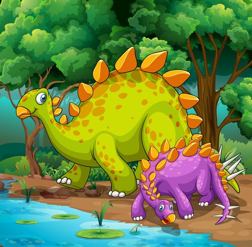 Dinosaurussen die in de jungle leven vector