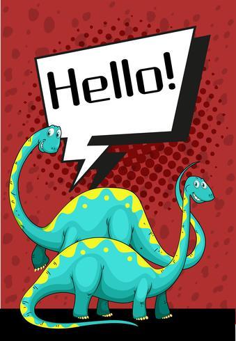 Diseño de cartel con dinosaurio diciendo hola.