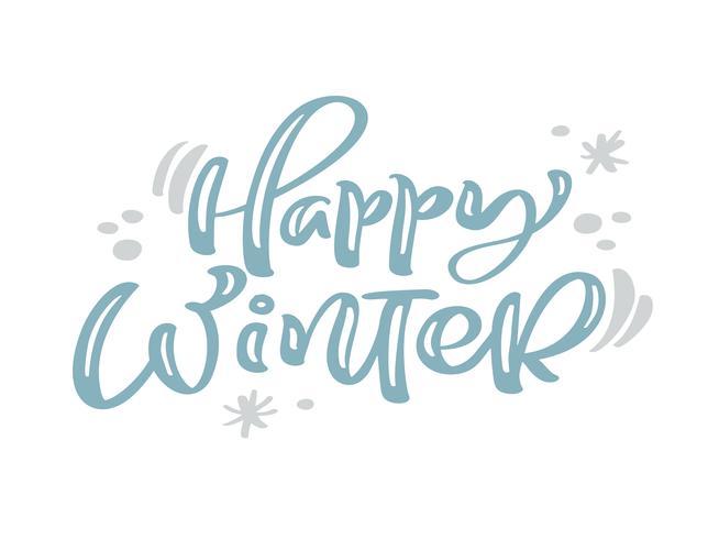 Glücklicher Winter blauer Weinlesekalligraphiebeschriftungs-Vektortext mit Winterzeichnungsdekor. Für Kunstdesign, Mockup-Broschürenstil, Bannerideenabdeckung, Broschürendruck-Flyer, Poster