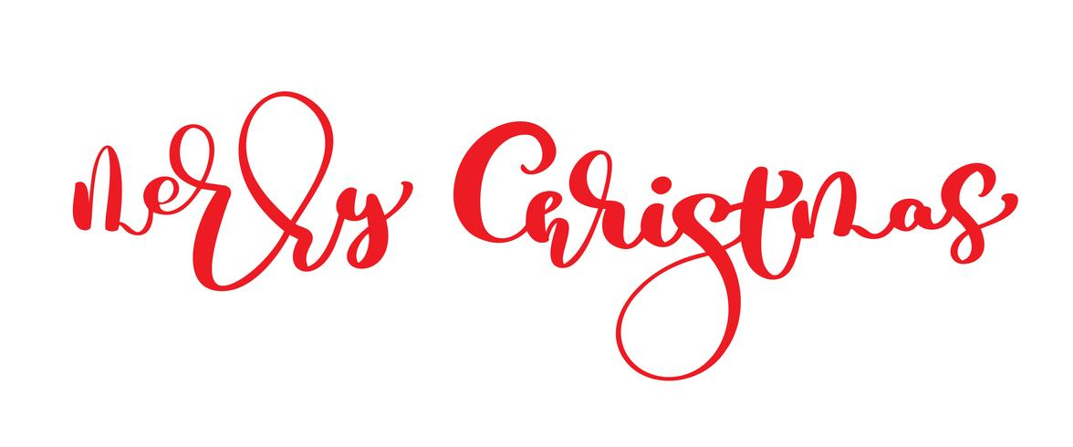 Merry Christmas red vector vintage text. Hand written calligraphic Lettering design card template. Creative typography for Holiday Greeting Gift Poster. Calligraphy Font style Banner isolated on white background