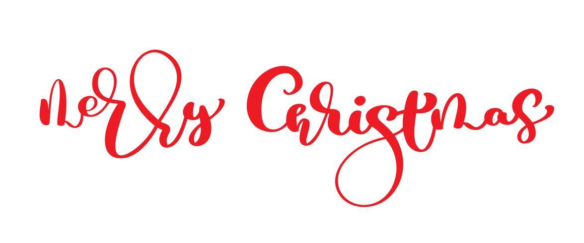 Buon Natale testo vettoriale vintage rosso. Modello di carta di disegno di iscrizione calligrafico scritto a mano. Tipografia creativa per poster regalo di auguri di vacanza. Insegna di stile di fonte di calligrafia isolata su fondo bianco