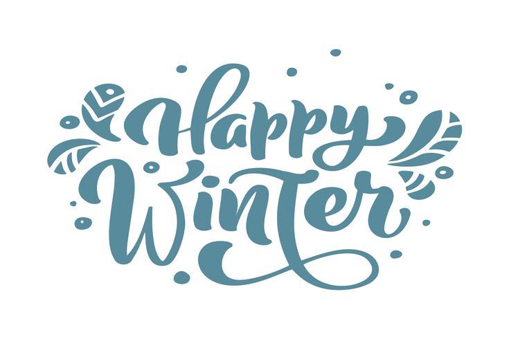 Weihnachtskalligraphie-Beschriftungs-Vektortext des glücklichen Winters blauer Weihnachtswein mit skandinavischem Dekor der Winterzeichnung. Für Kunstdesign, Mockup-Broschürenstil, Bannerideenabdeckung, Broschürendruck-Flyer, Poster